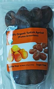 Indus Organic Turkish Jumbo Dried Apricots, 1 Lb, Sulfite Free, No Added Sugar, Freshly Packed, Premium Grade