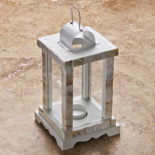 Beach Inspired Abalone Shell Candle Holder Lantern (5wx5dx9h)
