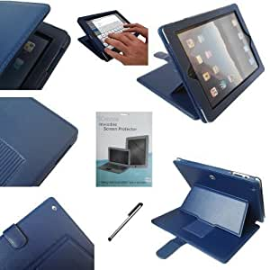 SUNNY SAVERS APPLE IPAD 2 2ND GENERATION (2011) & NEW APPLE IPAD 3 3RD GENERATION (2012) 16GB, 32GB, 64GB (WIFI + 3G) 4G BLUE EXECUTIVE LEATHER CASE COVER WALLET STAND FLIP IPAD 2 CASE WITH MAGNETIC SLEEP SENSOR & BONUS IPAD2 SCREEN PROTECTOR AND STYLUS ACCESSORIES ACCESSORY PACK