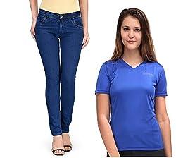 Oleva Women combo set of 2 (denim Blue jeans and Blue T-Shirt ) ONC-09_38