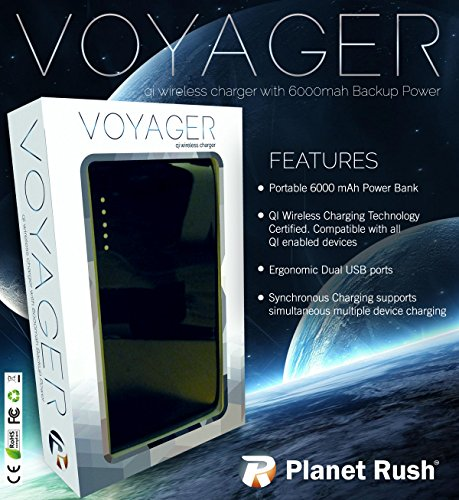 Voyager 3 in 1 QI Wireless Portable Charging Pad & Power Bank 6000 mAh Lithium External Battery & Dual USB / Untangle Office & Travel with Luxurious Quality & Slim Ergonomic Design