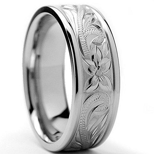 8MM Titanium Ring Wedding Band With Engraved Floral Design Size 7.5