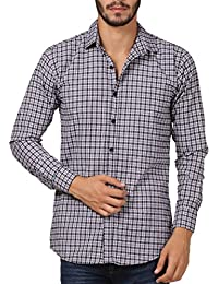 WILLOWY Men's Casual Slim Fit Cotton Shirt  - Full Sleeve - Grey & Black Check