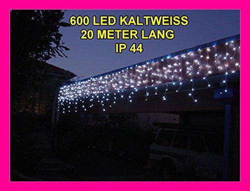 400 LED 15m lange WEIHNACHTS-LICHTERKETTE~EISREGEN-SCHNEE~EISZAPFEN EFFEKT~KALTWEISS~IP44~WEIHNACHTSBELEUCHTUNG~SEHR HELL~WEIHNACHTSDEKO