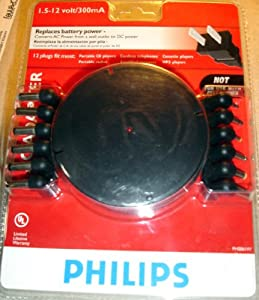 Philips 1.5-12v 300mA Universal AC-Adapter w/12 Plugs