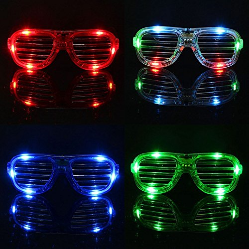 Party Lovers Flashing Chic Led Shutter Glasses Night Club Eyeglasses in Assorted Colors (8 Pieces)