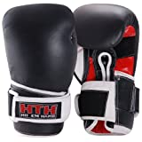 Maxstrength Real Leather Boxing Gloves - Black/White/Red, 12 oz