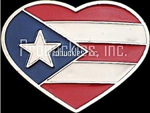 Puerto Rico Heart Shaped Belt Buckle