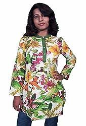 Miraaya Women's Cotton Kurta (Green, XS)