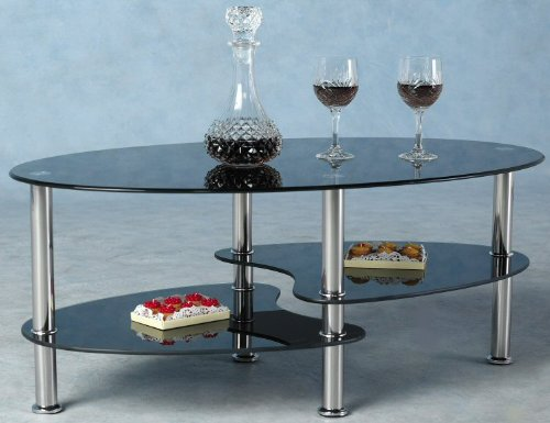 Cara Black Glass Chrome Coffee Table New Metal Modern - NEXT DAY DELIVERY