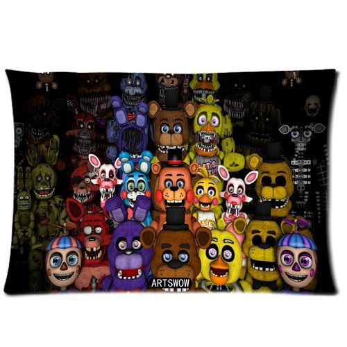ARTSWOW Fashion Funny Five Nights at Freddy's World Custom Rectangle Pillowcase/Copricuscini e federe Pillow case/Copricuscini e federe Cover 16X24 (One Side) Standard Size