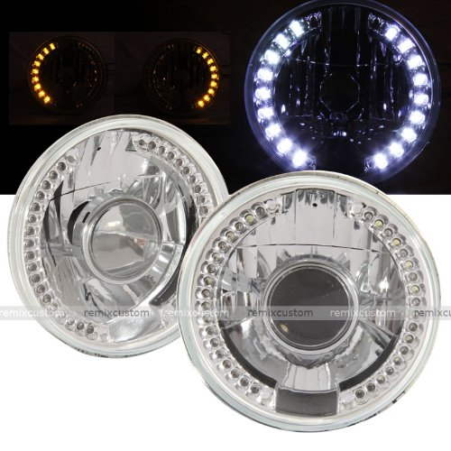 """Universal 7"""" Round Smdx36 Drl White Led Projector Headlights With Signal"""