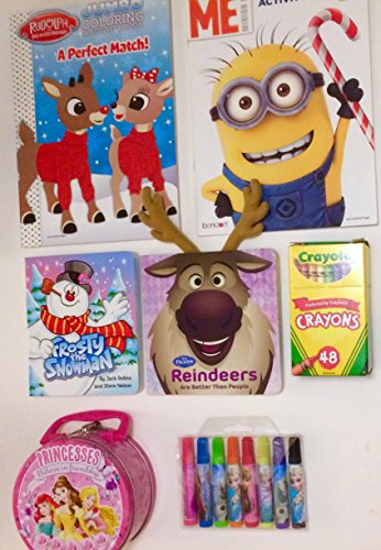 Rudolph Frosty Holiday Coloring Activity Books 7Pce Bundle with Crayons & Princess Case (Frozen Sven Kids Reindeer Antlers)