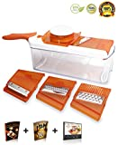 "HomeNative® Adjustable Mandoline Slicer (Orange) - Comes with 4 Interchangeable Stainless Steel Blades - Vegetable Cutter, Peeler, Slicer, Grater and Julienne Slicer all in 1 - Plus 3 Bonus Gifts: ""The Best You"" Ebook, Mandoline Recipe Ebook & Video Tutorial"