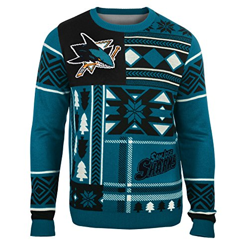 NHL San Jose Sharks Patches Ugly Sweater, Blue, Small (Sharks Patch compare prices)