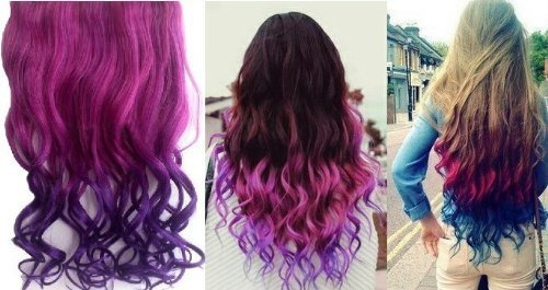 Fashion Sexy Two Tone Long Curl/curly/wavy Clip in Hair Extensions Pieces Wig Girls, Shade Hot Pink to Dark Purple