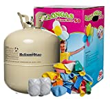 Toy - Partyzubeh�r Deluxe: Helium f�r Luftballons inkl. 50 bunte Latexballons (� 25cm) und Polyband im Set! 420 Liter Luftballongas in Heliumflasche: HeliumStar� Ballongas Einwegflasche XXL - Ballongas reicht f�r alle 50 Ballons