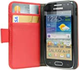 AVANTO CARBON Flip Case for Samsung Galaxy Ace 2 I8160 WALLET - rot