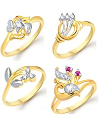 VK Jewels Gold And Rhodium Plated Alloy Ring Combo Set For Women & Girls- COMBO1415G [VKCOMBO1415G]