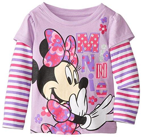 Disney Little Girls' Minnie Mouse Stripe Long Sleeve Tee, Lovely Purple, 2T front-90532