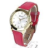 Geneva レディース ファッション ウォッチ 腕時計 ラインストーン (ピンク)