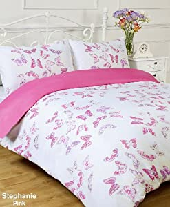 Stephanie Reversible Pink / White Butterfly King Bed Size Duvet Cover Set
