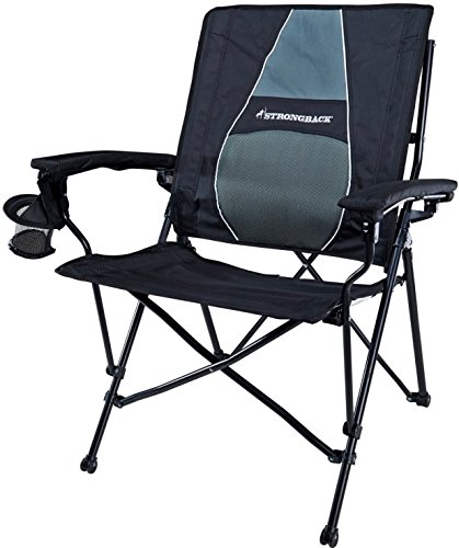 STRONGBACK Elite Heavy Duty Folding Camp Chair with Lumbar Support, Black and Grey