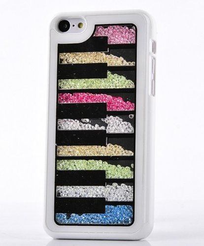 Big Mango Deluxe Bling Colorful Moving Diamond Rhinestone Protective Shell / Hard Back Case Cover For Apple Iphone 5C With Piano Keys Design ( At&T, Sprint, Verizon ) - White