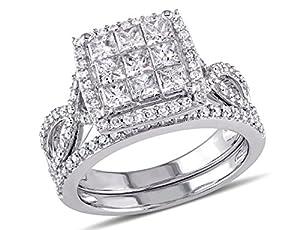 Princess Cut Diamond Engagement Ring & Wedding Band Set 1.50 Carat (ctw) in 10K White Gold