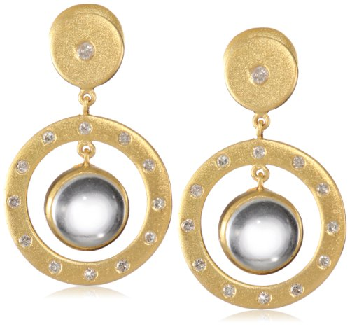Lauren Harper Collection Mirage 18k Gold, Crystal Quartz Cabachon and Diamond Post Earrings