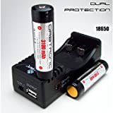 Kit 18650 Charger and TWO 18650 PROTECTED Orbtronic Li-ion (Panasonic inside) 3.7V Battery cells 10 Amp dual Protection - For Fenix, Nitecore, Olight, Eagletac, Thrunite, Klarus, Zebralight, Surefire, Streamlight, and all high performance 18650 flashlights
