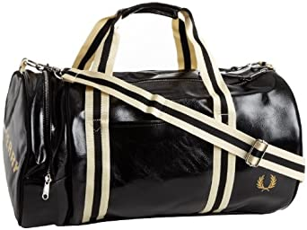 fred perry tasche classic barrel bag schwarz black in. Black Bedroom Furniture Sets. Home Design Ideas