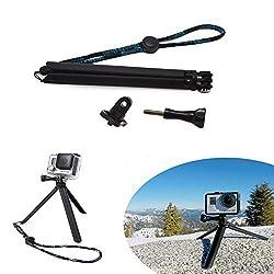 Pocket Adjustable Camera Tripod Grip Pole + Lanyard + Screw for GoPro HD Hero 4 3+ 3 2 1 Camera Accessories By Jiale -Black