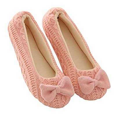 Shoes, Yoga Shoes, ABC® Women Ladies Home Floor Soft Slippers Cotton-Padded Bowknot Warm Yoga Shoes
