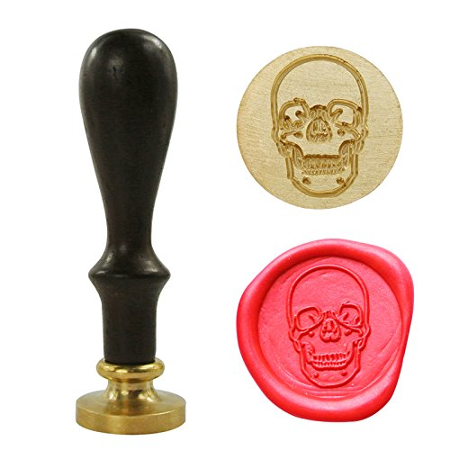 "UNIQOOO 1"" Vintage Skull Head Skeleton Face Retro Wax Seal Stamp Rosewood Handle Copper Head Initial Stamp"