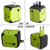 Travel Adapter Uppel All-in-one Worldwide Travel Adapter for US EU UK AU about 150 countries Wall Universal Power Plug Adapter Charger with Dual USB and Safety Fuse(Green)