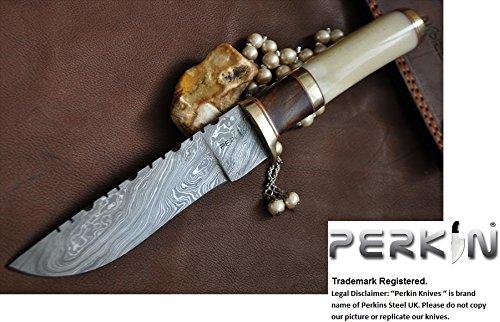 Custom Handmade Damascus Hunting Knife - Bowie Knife - Mammoth Bone & Burl Wood Handle