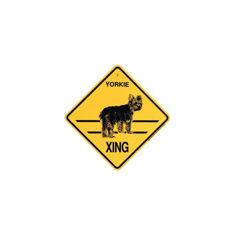 Yorkie Long Haired Dog Crossing Xing Sign New Yorkshire