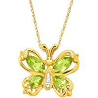 Peridot Butterfly Pendant with Diamond 10K Gold