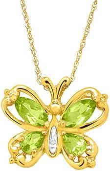 Peridot Butterfly Pendant with Diamond