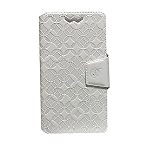 Jo Jo Cover Aarav Series Leather Pouch Flip Case With Silicon Holder For BLU Studio 5.5 S White