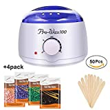 Wax Warmer Hair Removal Kit,Waxing Kit,JINGOU Wax Heater Pot Skin Care with 4 Packs Wax Beans and 50 pcs Wax Applicator Sticks for Facial,Feet,Hands,Armpit