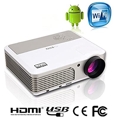 EUG 760+(A) Multimedia Hd Android Cinema Projector 1080p Wireless home theater 3D Hdmi Usb Tv Vga Audio Sd Dvd Lcd Led Wifi Projectors Digital for Movie Game Party Outdoor Camp Night Portable Latest