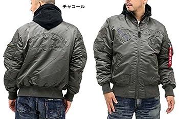 (アルファ インダストリーズ) ALPHA INDUSTRIES INC 大きいサイズ メンズ フライトジャケット MA-1 同色 ワッペン 刺繍 フード取り外し 1color 5L チャコール