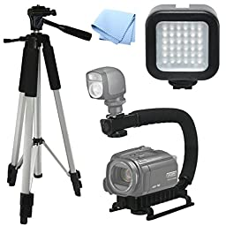 Advanced Professional ACTION Kit: Pro Tripod + Pro Stabilizing Grip + LED Video Light For Sony HDR-XR500, Video Light, Tri-pod, Scorpion Grip, Multipurpose Camcorder/Camera Studio Support