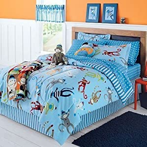 Sock Monkey Complete 6 Piece Bedding Set ~ Twin