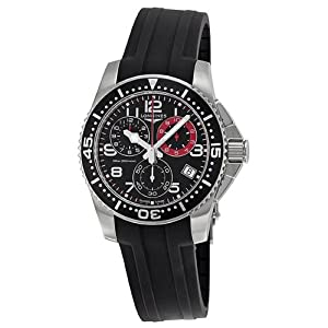 Longines Hydro Conquest Black Dial Stainless Steel Case Black Rubber Strap Mens Watch L36904532