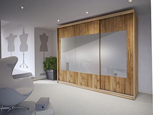 Salina sliding wardrobes large 260 cm with hanging rail shelf & 3 mirror doors (260)