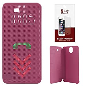 DMG Dot View Interactive Flip Cover Case for HTC One E9 Plus (Purple) + Matte Anti-Glare Screen Protector