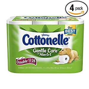 Cottonelle Gentle Care Toilet Paper with Aloe and E, 12-Count (Pack of 4)